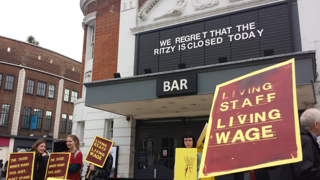 Workers at the Ritzy Cinema in Brixton strike for living wage