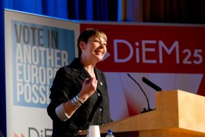 Caroline Lucas addresses a rally co organised with DiEM in May