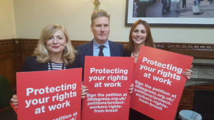 Tracy Brabin, Melanie Onn and Kier Starmer launch the Bill to protect workers' rights post-Brexit