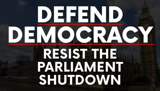 Contains the text - Defend Democrary, Resist the Parliament Shutdown